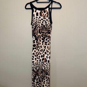 Bebe Leopard Lace Up Back Dress